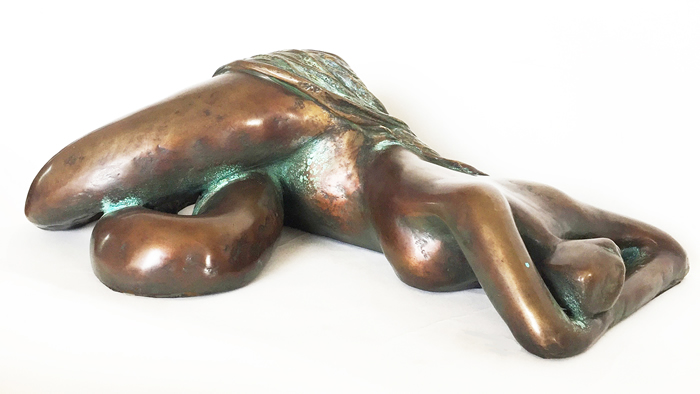 Sculptures - Bronze Reclining Nude with Drape