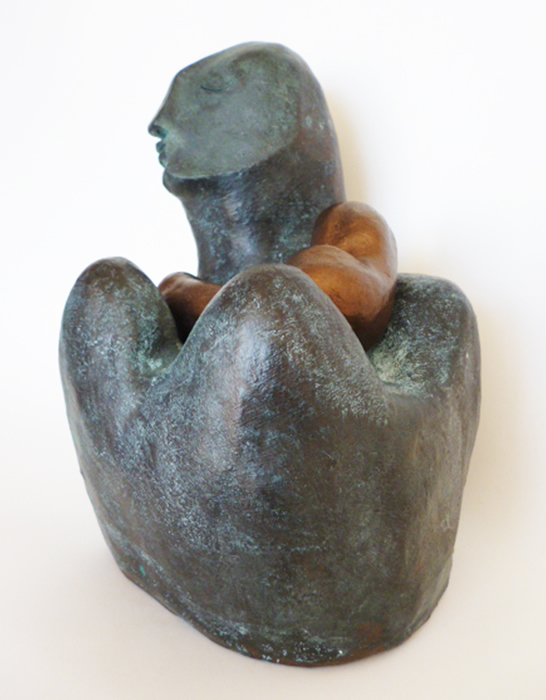 Fired Ceramic, painted bronze, patina, wax - H 24 x W 16 x D 15 cm
